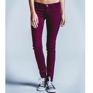 RSQ Miami Low Rise Jegging Burgundy Maroon Sz 1